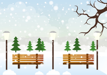 Free Vector Winter Landscape Illustration - Free vector #419003