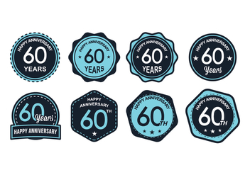 Blue 60TH Anniversary Badge Vectors - Kostenloses vector #419093