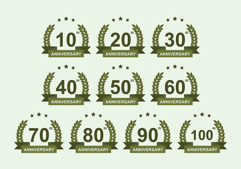 Anniversary Badge Vector Pack - vector #419213 gratis