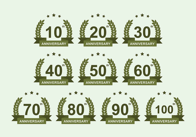 Anniversary Badge Vector Pack - vector gratuit #419213