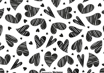 Vector Doodle Heart Seamless Pattern - Free vector #419293