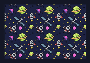 Seamless Starship Vector Pattern - бесплатный vector #419313