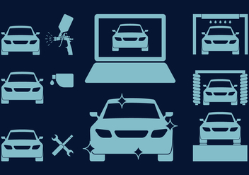 Car Body Repair Icons - vector gratuit #419323