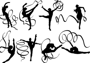 Free Ribbon Dancer Siluetas Icons Vector - Free vector #419393