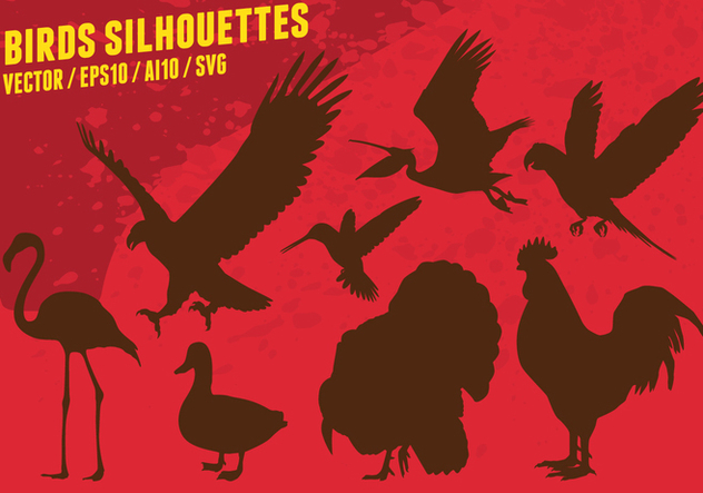 Birds Silhouettes - Free vector #419573
