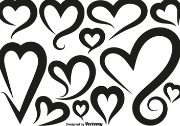 Vector Hearts Icons Set - vector gratuit #419773
