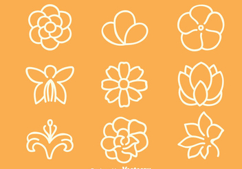 Flowers Line Vector Sets - vector gratuit #419813