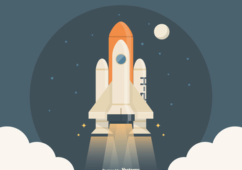 Free Spaceship Launch Vector Illustration - бесплатный vector #420403