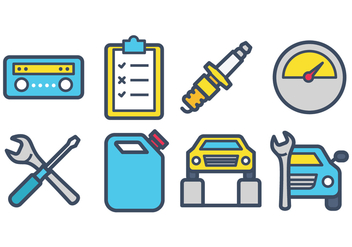 Car Service Icons - vector #420523 gratis