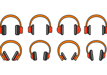 Set Of Head Phone Icons - vector #420653 gratis
