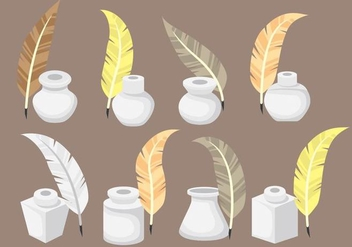 Inkwell Icons with Feather Vectors - Free vector #420663