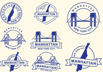 Stamps Of Manhattan Borough, New York City - бесплатный vector #420683