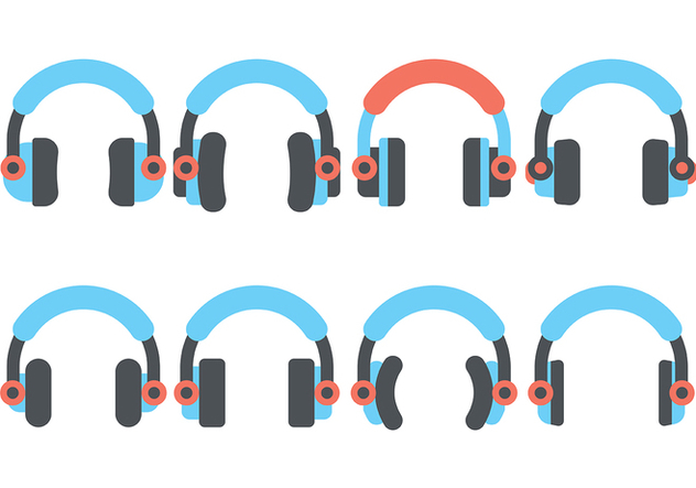 Headphone Flat Icon Vector - Free vector #420813