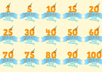 Celebratory Anniversary Badge Vectors - бесплатный vector #420893