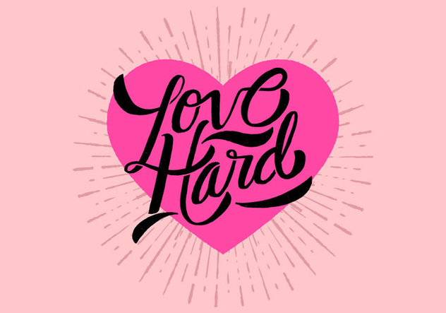 Love Hard Lettering Vector - Free vector #421113