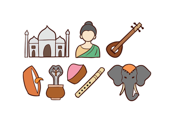 India Doodle Icons - Free vector #421123
