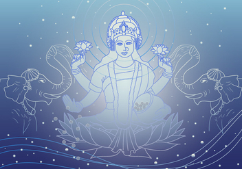 Lakshmi Goddess Of Wealth Vector - Kostenloses vector #421133