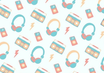 Pastel Music Head Phone Background - Kostenloses vector #421173