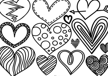 Vector Set Of Doodle Hearts - Free vector #421453