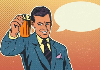 Vector Cheers Businessman With Pint of Beer - Free vector #421483