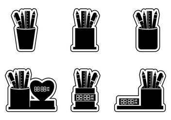 Set of Pen Holder Sticker Silhouette Vectors - vector #421713 gratis