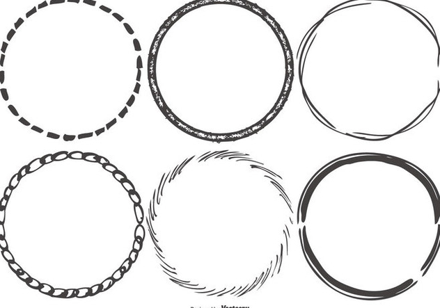 Round Funky Sketchy Frames - vector gratuit #421763