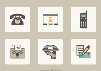 Flat Retro Communication Vector Icons - vector gratuit #421783