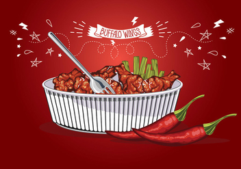 Spicy Wings Vector - Free vector #421813