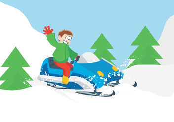 Riding Snowmobile - vector gratuit #421933