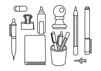 Free Stationary and Pen Vectors - Free vector #421983