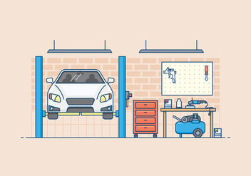 Free Auto Body Garage Illustration - vector gratuit #422043