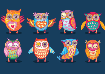 Funny Owls Birds or Buhos Full Color - бесплатный vector #422063