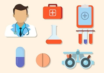 Flat Hospital Elements - vector gratuit #422313