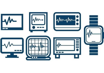 Heart Monitor Outline Icon Set Vector - vector #422333 gratis