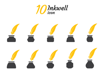 Inkwell Icon Silhouette Vector - Free vector #422353