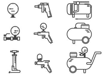 Air Compressor Accessories Icon Vectors - бесплатный vector #422363
