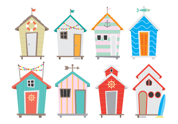 Bright and Colorful Seaside Cabana Icons - vector #422393 gratis