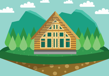 Quaint Forest Chalet Vector - Free vector #422403