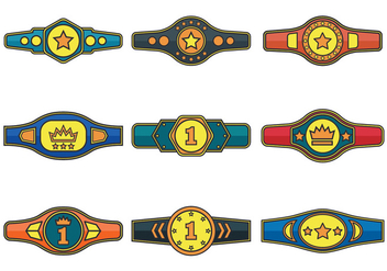 Championship Belt Vector Icons - Free vector #422903