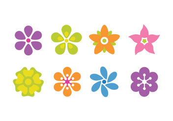 Flower Flat Icon Set - vector gratuit #423143
