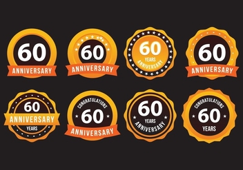 60th Anniversary Gold Badge - бесплатный vector #423153
