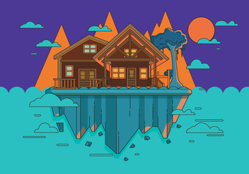 Mountain Chalet Scene Vector - бесплатный vector #423263