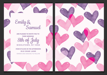 Vector Wedding Invitation with Watercolor Hearts - Free vector #423323