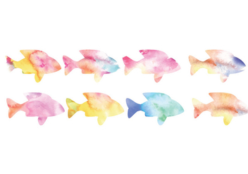 Vector Collection of Watercolor Fishes - бесплатный vector #423343