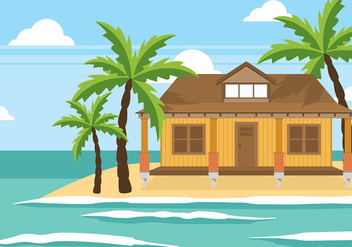 Cabana at The Beach Vector - Free vector #423393