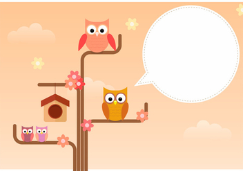Owl Family Standing In Tree Branch - Free vector #423603