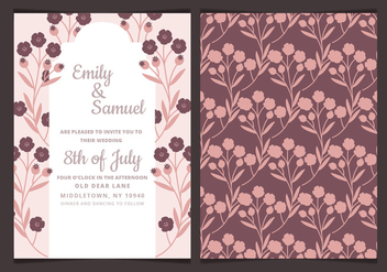 Vector Wedding Invitation with Dark Flowers - Free vector #423623