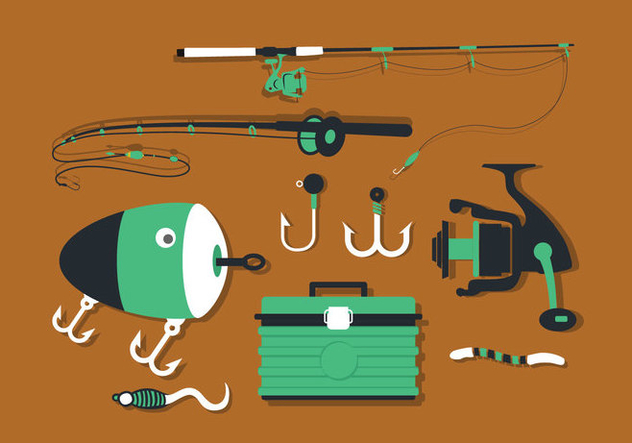 Fishing Tools Set Vector Pack - vector #423693 gratis