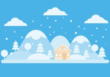Free Winter Landscape And Chalet Vector - vector gratuit #423893