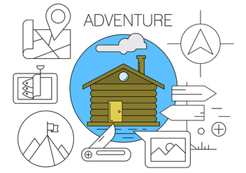 Free Adventure / Hiking / Camping Vector Icons - Kostenloses vector #424003